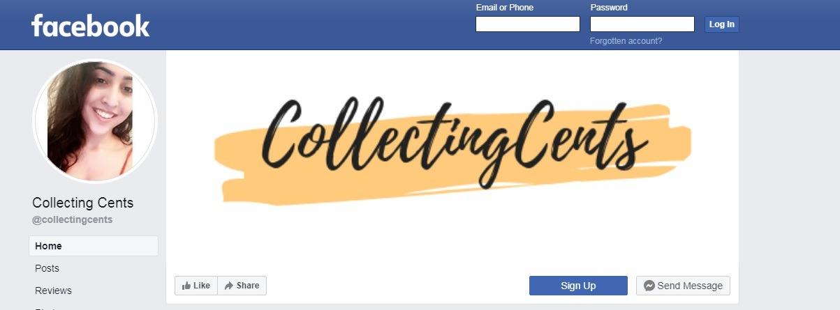 collectingcents-faccebook-signup