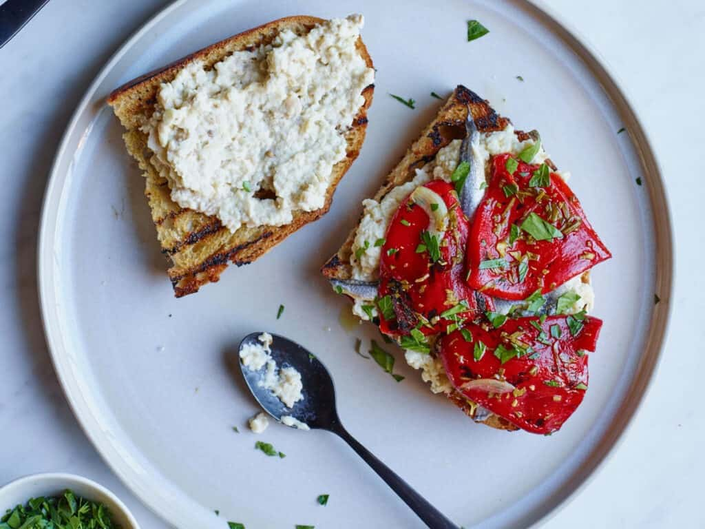 Marinated Piquillo Pepper and Whipped Eggplant Toasts Beauty + A160111 + Food & Wine + Handbook: Chef Pages + Mad Genius Tips + Cravings + Vegetable + May 2016