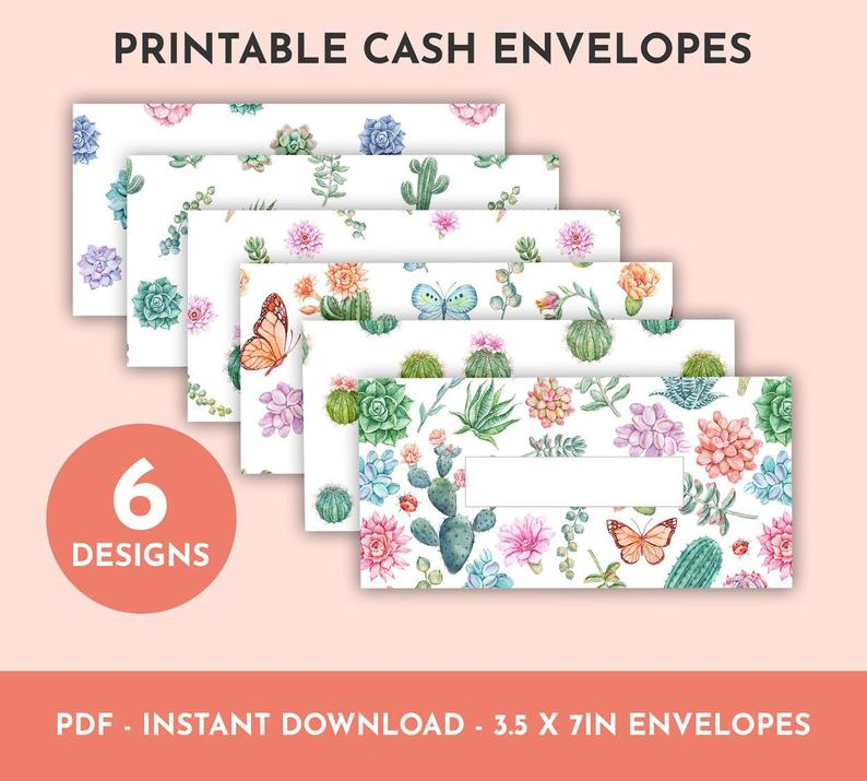 Watercolor Succulents Printable Cash Envelopes
